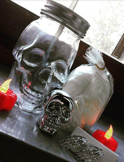 Skulls💀 Bottle Drinking Glass Skulls 4 Life! Candles.❤ Halloween Ilovehalloween Thebesttime TheBestTimeOfTheYear Pumpkin!Pumpkin! Pumpkins Pumpkin Season