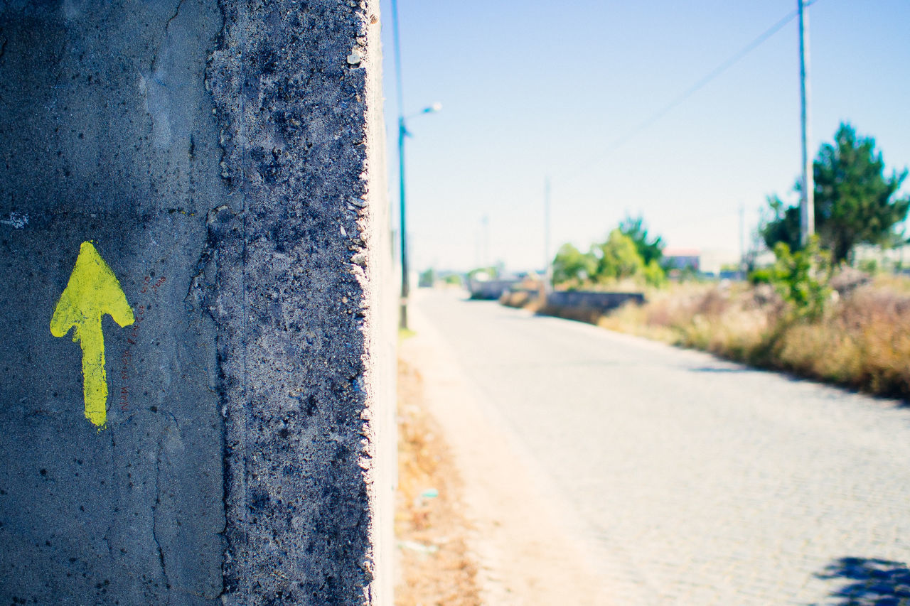 this way Blue Clear Sky Close-up Day Eyeemphoto Focus On Foreground Hikinggalicia No People Outdoors Pole Road Surface Level Transportation Weathered