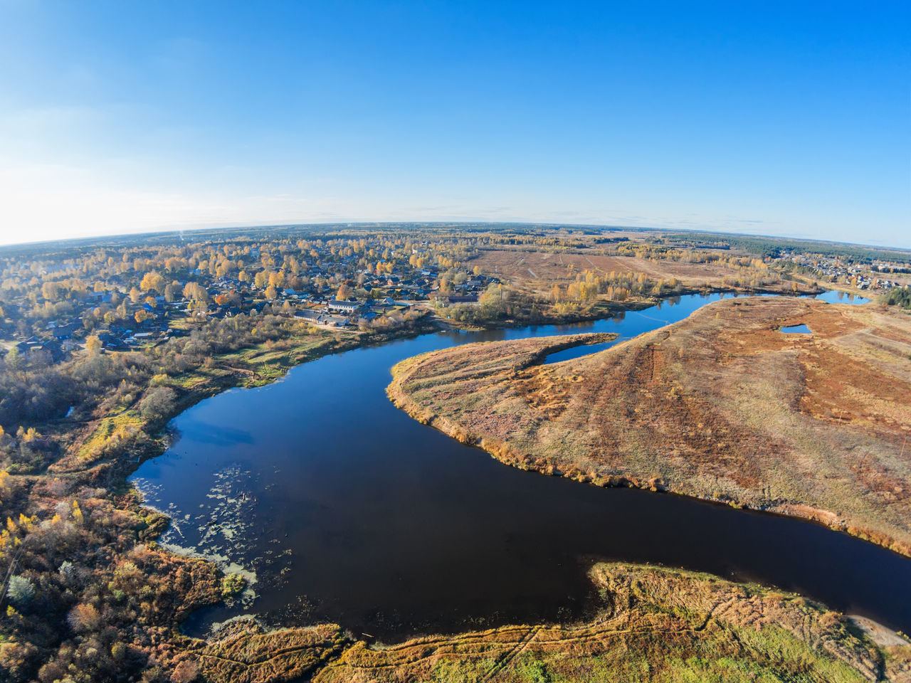 Aerial view of the river Mologa and Maksatikha village. A Bird's Eye View Aerial Aerial View Beauty In Nature Blue Day Drone  Dronephotography High Up Landscape Nature No People Outdoors Scenics Sky Top Perspective Water