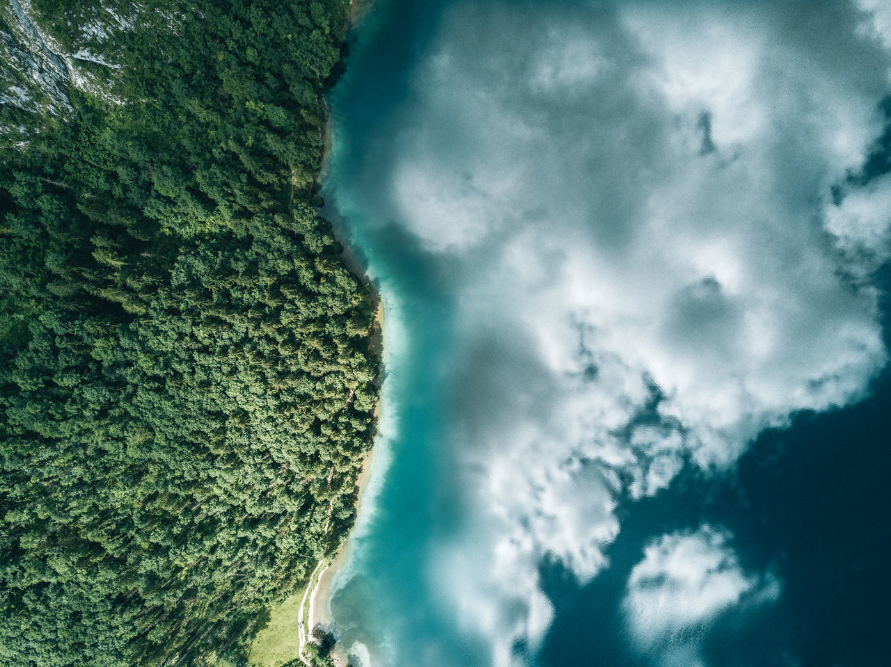 Aerial image of a mountain lake with reflection. Beauty In Nature Cloud - Sky Day Nature No People Outdoors Scenics Sky Tree The Week On EyeEm