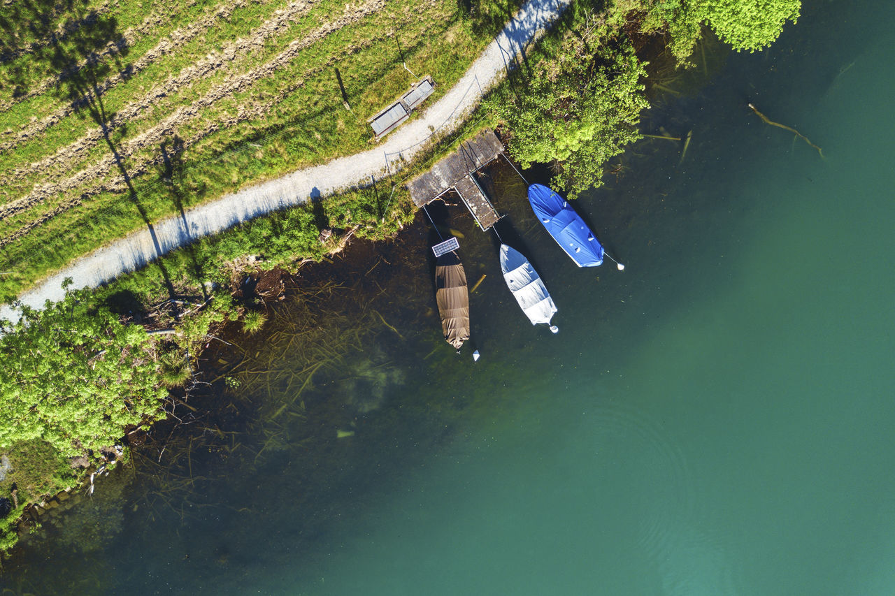 Bird's Eye View Boat Boats Dock Dockingstation Dronephotography High Angle View Lake Water Wohlensee