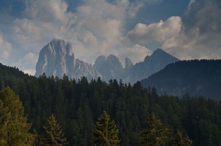 Sassolungo group, Italian Dolomites Italy Dolomites Alps Mountains Rock Cliff Landscape Forest Clouds And Sky Horizon Outdoors Nature Peak Summit Landmark Sassolungo Sassopiatto Langkofel Plattkofel Adventure Scenic Hiking Dramatic