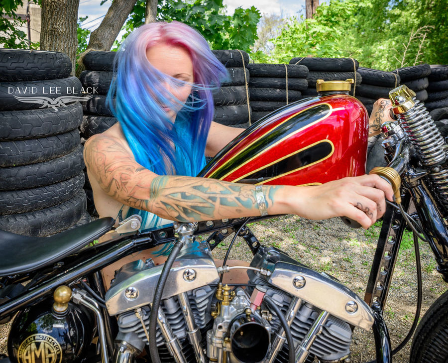 Adult Adults Only Blue Hair Day Model Motorcycle One Person One Woman Only One Young Woman Only Only Women Outdoors People Power Rainbow Hair Speed Throttle Tire Tires Transportation Tree