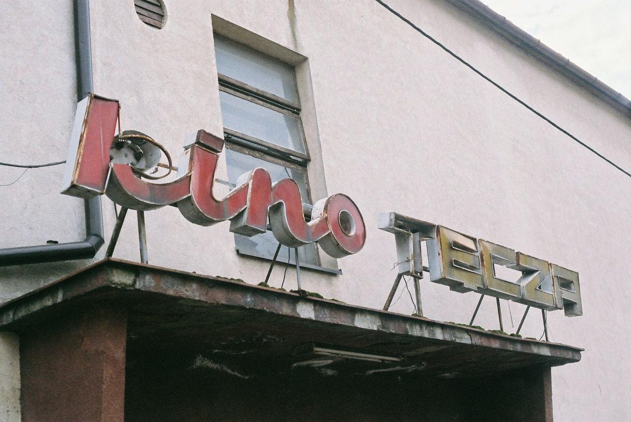 "Old ""Tęcza"" cinema neon (Milówka, Poland) 35mm 35mm Film 50mm F1.8 Analogue Photography Architecture Building Exterior Built Structure Canon Day Decay Eos50e FujicolorC200 Kino Milówka Neon New York No People Outdoors Roof Tęcza Vintage"