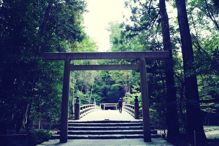 Grand Shrine Of Ise Mie Japan Naiku Approach To Shrine Worshipping Holiday TORII Bridge Nature