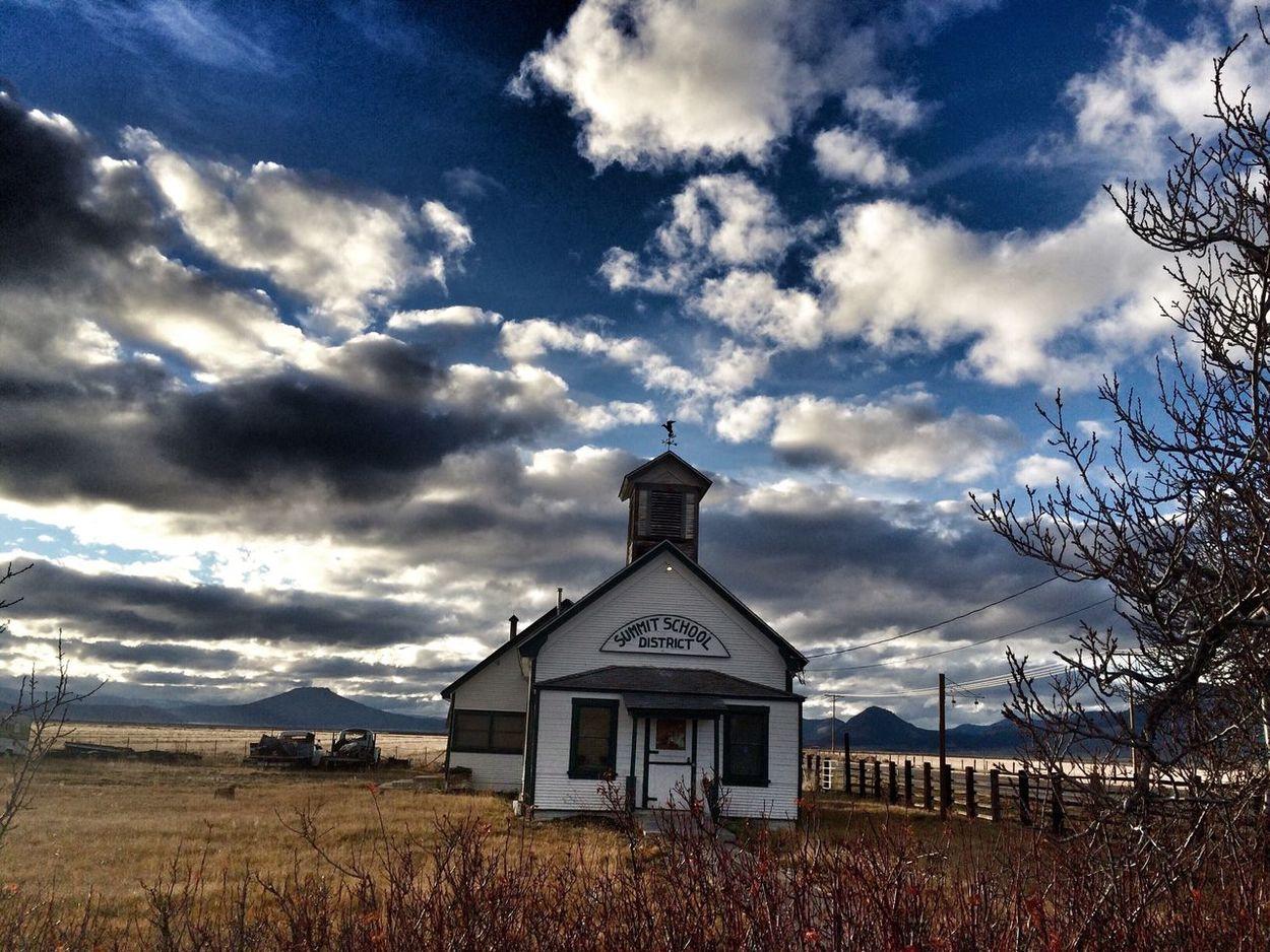 Rural old schoolhouse in Northern California. California Abandoned Schoolhouse Landscape Clouds First Eyeem Photo