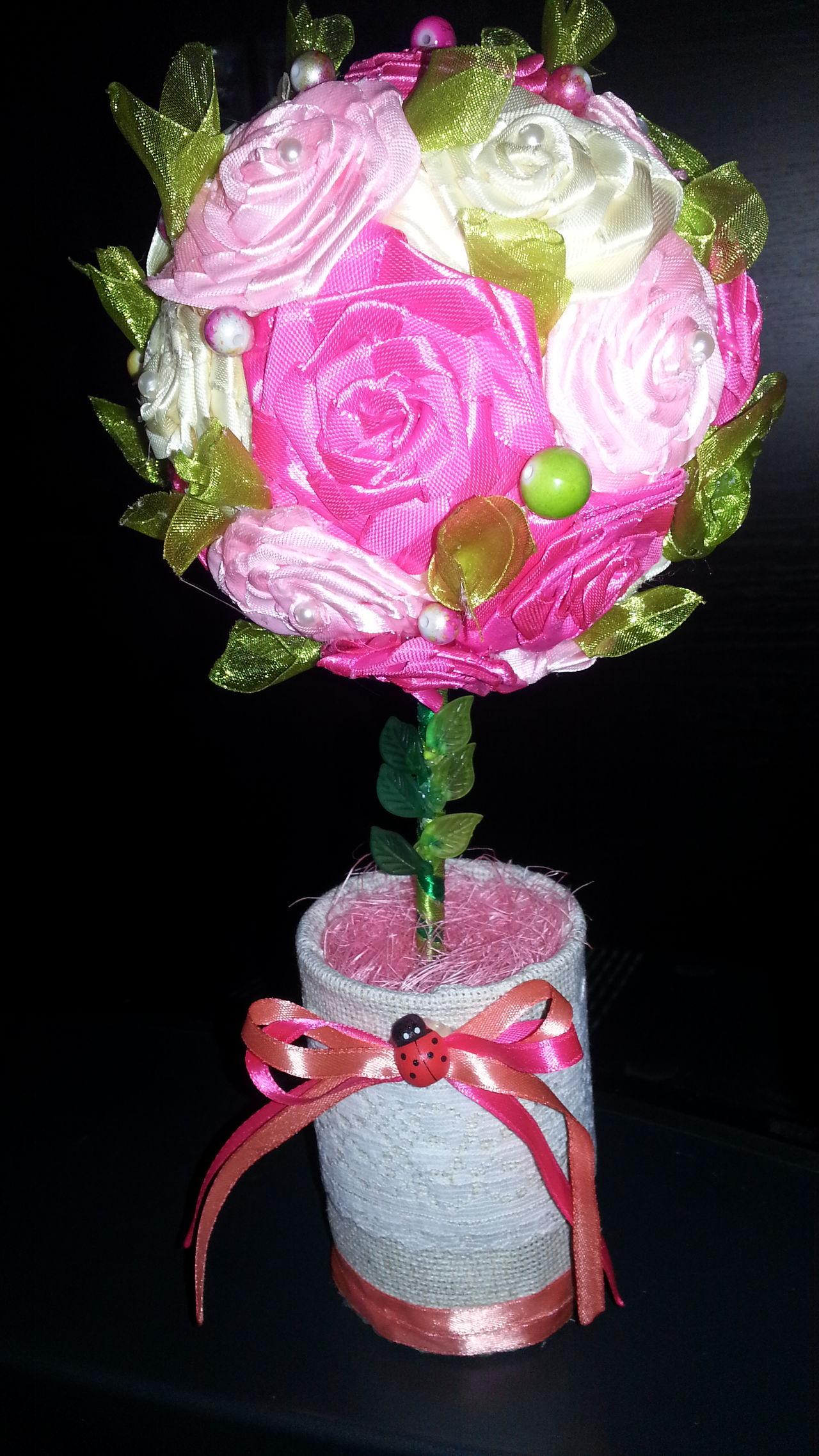 Деревце счастья. Топиарий. ручная работа деревце ленты розы Handmade For You Ukraine 💙💛 Decoration Decor Topiary Flower Collection Kiev