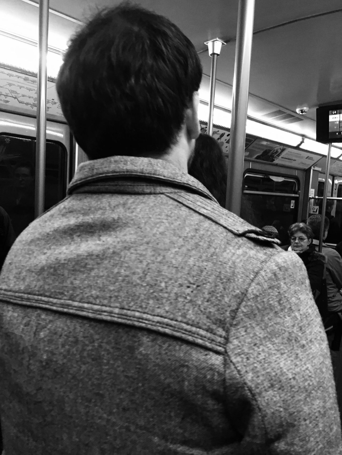 Black And White Rear View Public Transportation Vehicle Interior Mode Of Transport Subway Train Train - Vehicle One Person Commuter Rail Transportation Passenger Passenger Train Indoors  Real People Commuter Train One Man Only Men Train Interior Only Men Adults Only