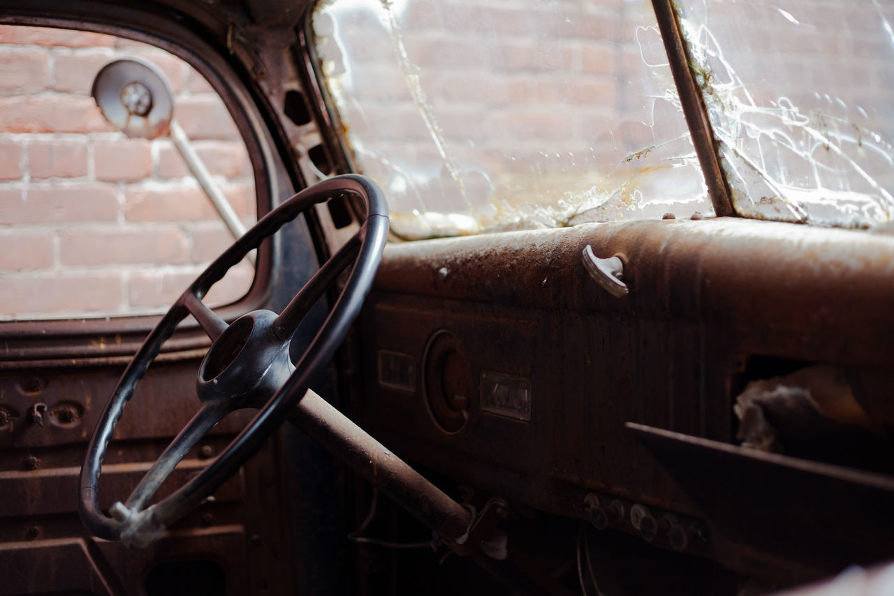 Interior Of Abandoned Vintage Car