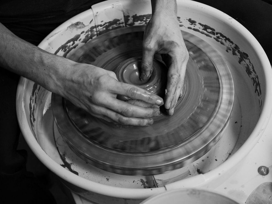 Art And Craft Black And White Clay Close-up Craft Day Earthenware Expertise Human Body Part Human Hand Indoors  Making Men Motion Occupation One Person People Pottery Preparation  Real People Skill  Work In Progress Working