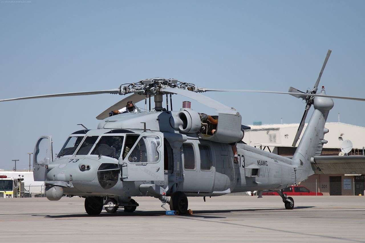 Adult Aerospace Industry Air Vehicle Aviation Blackhawk Chopper Day Helicopter MH-60 Naval NSAWC Outdoors People Preparation  Seahawk SH-60F Transportation US Navy USN
