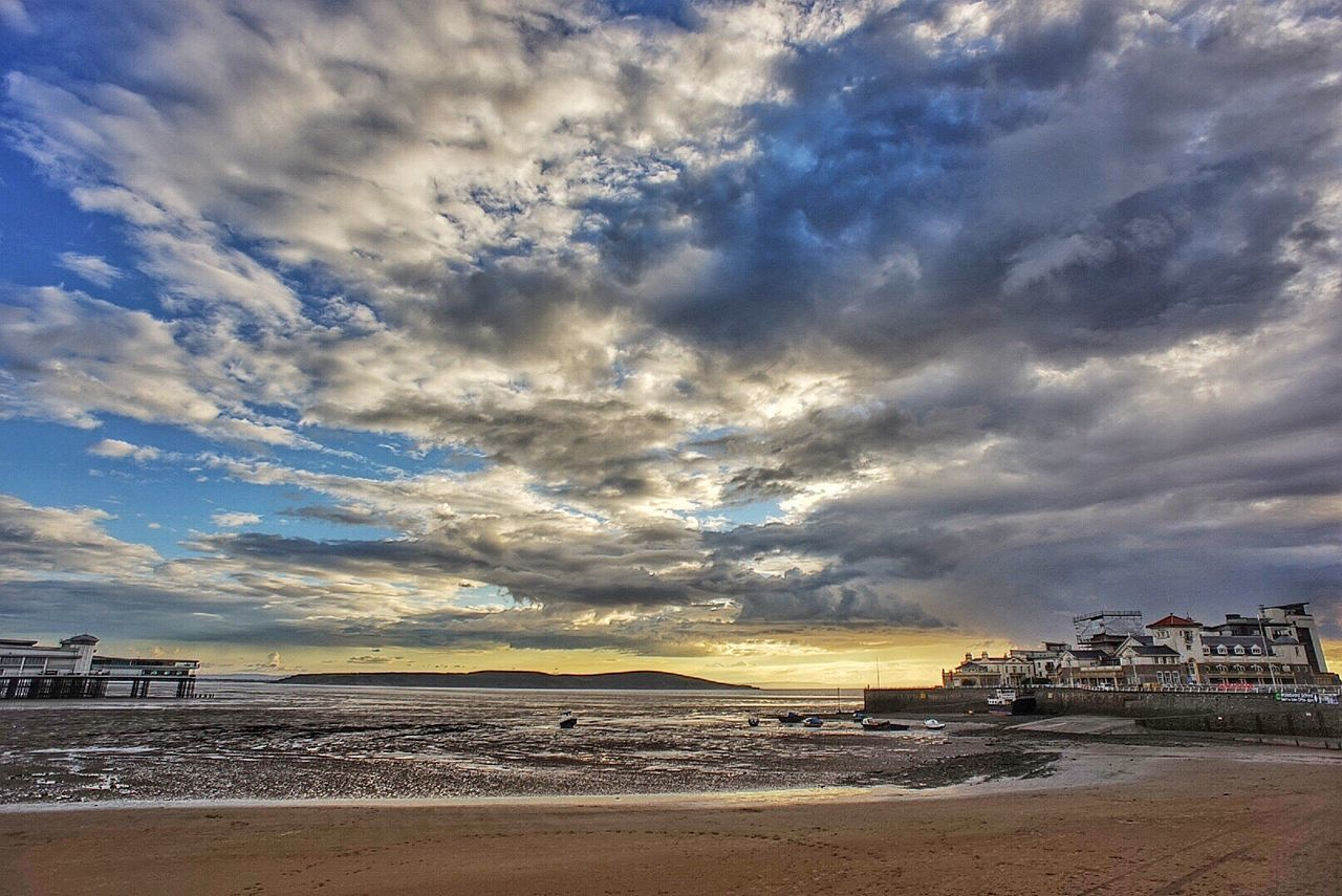 Unforgettable scene Beach Cloud - Sky Sky Sea Architecture Building Exterior Horizon Over Water Water Built Structure No People Sand Outdoors Nature Scenics Beauty In Nature Sunset Travel Destinations Day City The Great Outdoors - 2017 EyeEm Awards Britain Weston-super-mare Sunset_collection Sunset Like A Painting