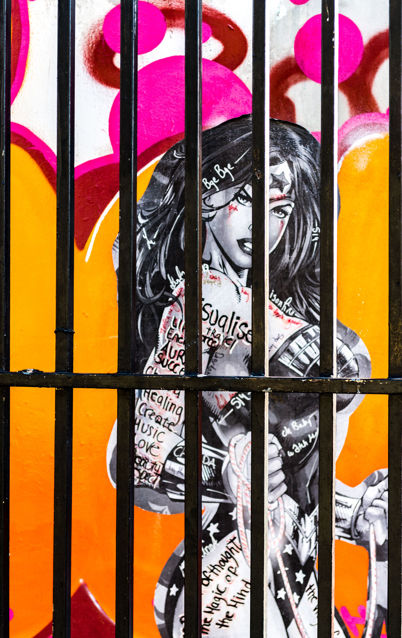 Behind Bars Close-up Day Full Frame Graffiti Multi Colored No People Outdoors Red Wynwood Walls