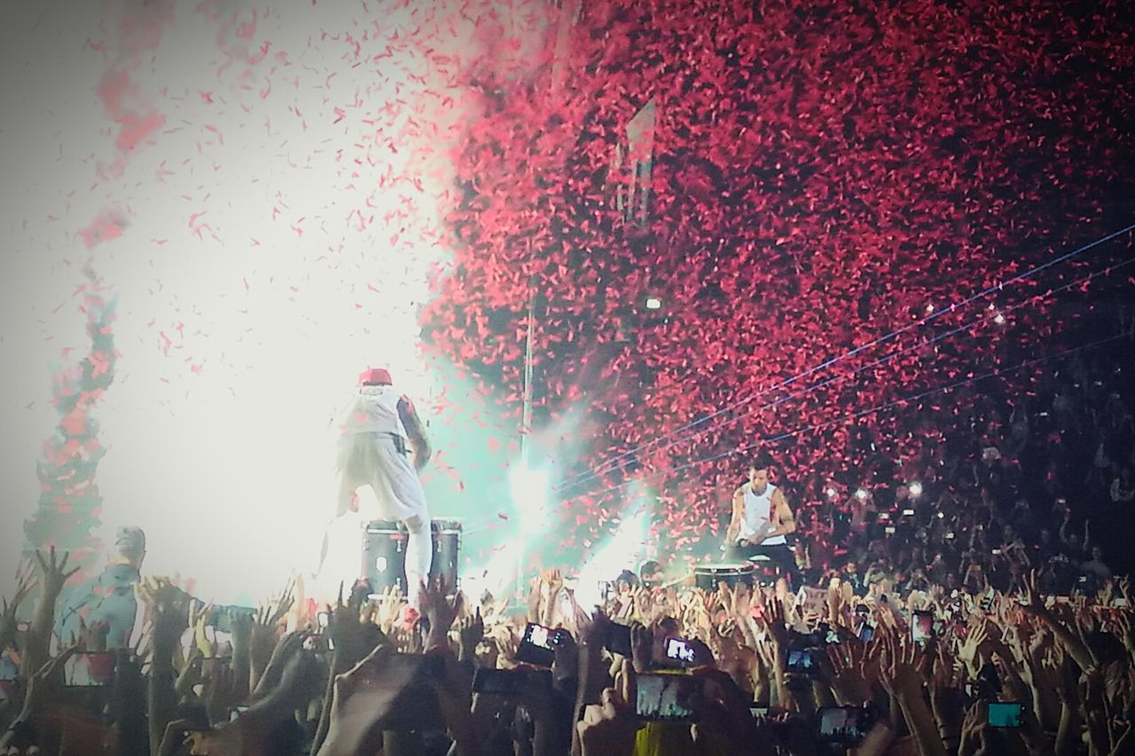 Performance Large Group Of People Music Crowd Arts Culture And Entertainment Fun People Nightlife Night Outdoors Enjoyment TwentyOnePilots Tøp Twentyønepilots Stpetersburg Spb Popular Music Concert Emotionalroadshow2016 EyeAmNewHere EyeEmNewHere