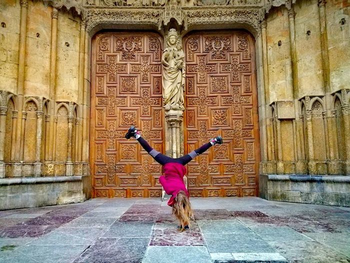Insane cartwheel (color) Simmetry Simmetrical Cartwheel Upside Down Gymnastics Acrobatics  Kids Being Kids Kids Playing Children Childhood Blonde Girl Girl Cathedral Church Streetphotography History Architecture Built Structure Day One Person Real People Full Length Outdoors People