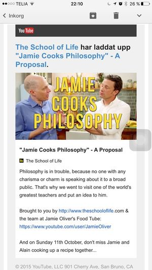 See, like and share. Please. Philosophy Alain De Botton School Of Life Jamie Oliver http://youtu.be/wwTQfsArkOs