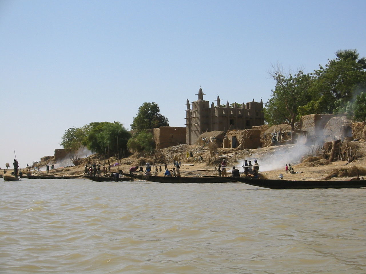 Activities on the riverside Ancient Civilization Clear Sky Life On The River Mosqée Niger River Outdoors People At Work Real People Riverside Water