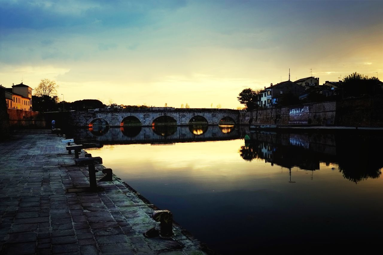 Sunset City Reflctions Tiberius Bridge Rimini