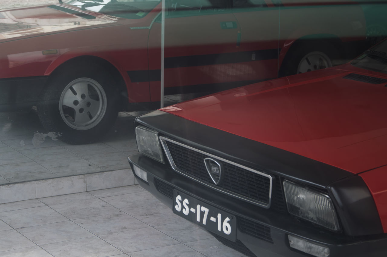 """From my series """"Abandoned"""". Abandoned Car Lancia Monte-Carlo No People Outdoors Red Secondhand Showroom"""
