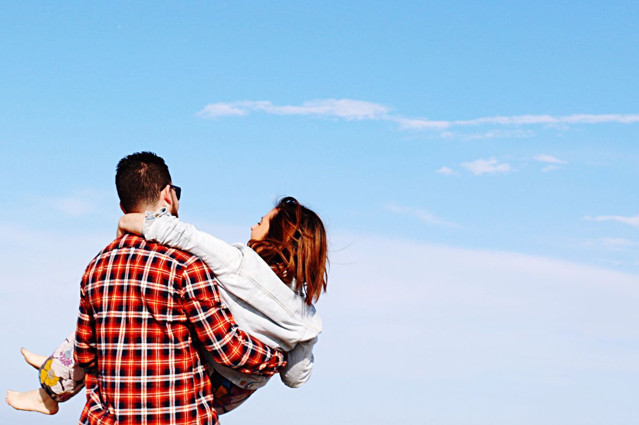 Love is in the air Love People Streetphotography Blue Sky Couple Girl Boy Young Young Adult Young Woman Young Man Togetherness Casual Clothing Outdoors Scene Smile Happiness Happy People Friends Friendship Two Young Love Candid Sky Street Fashion