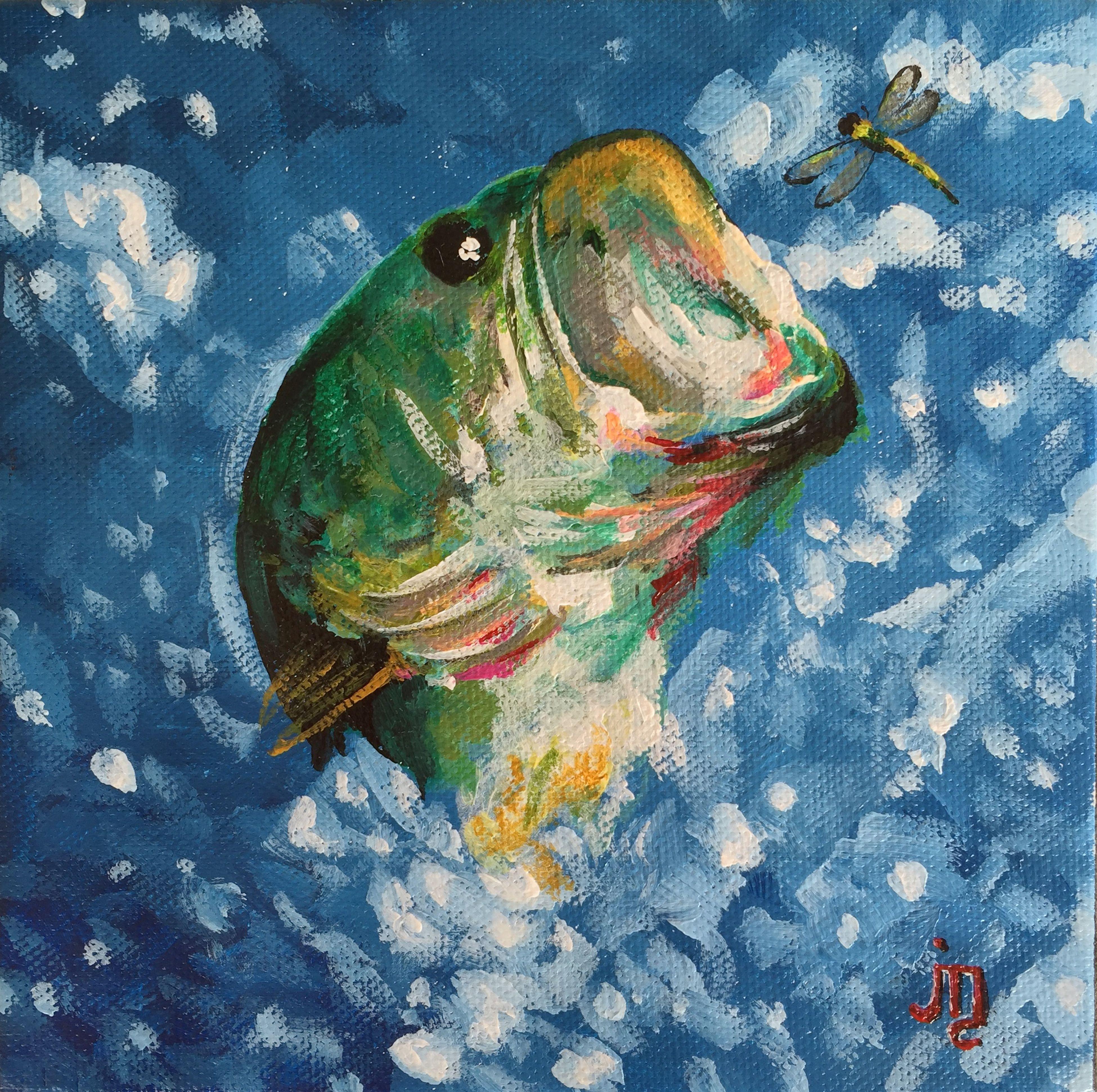 """A Quick Bite"" - J. Travis Duncan J Travis Duncan My Painting Fish Fishing ArtWork Bass Fishing"