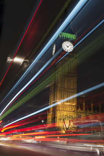 Light trails front of Big Ben and houses of parliament at night Big Ben British Lights Moving Sigthtseeing Westminster Backgrounds City Clock England Europe Famous Place Historical Illuminated Landmark Light Trail Monument Motion Night Speed Transportation Travel Destinations Uk Urban Vertical