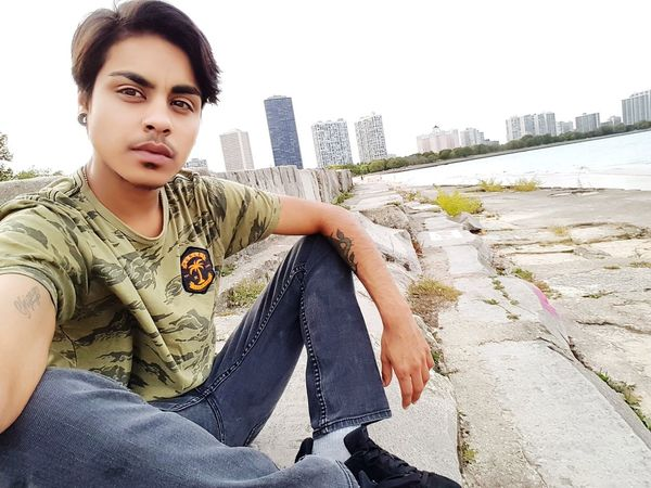 Beach Chicago Ftm F2m Camo Transgender Hurley  Guyswithplugs Boyswithplugs  Portrait Casual Clothing People Looking At Camera Day Young Adult City