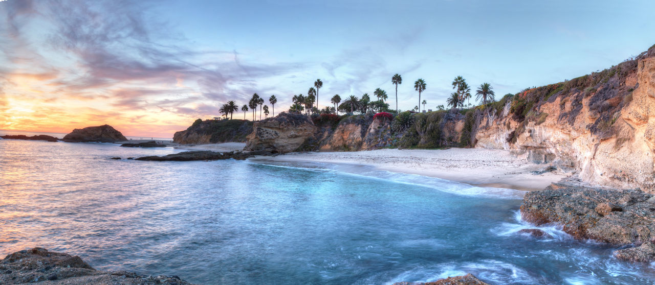 Sunset view of Treasure Island Beach at the Montage in Laguna Beach, California, United States Beach Beauty In Nature California Cliffs Cloud - Sky Day Laguna Beach Laguna Beach, CA Landscape Landscapes Nature No People Ocean Outdoors Panorama Scenics Sky Sunset Treasure Island United States