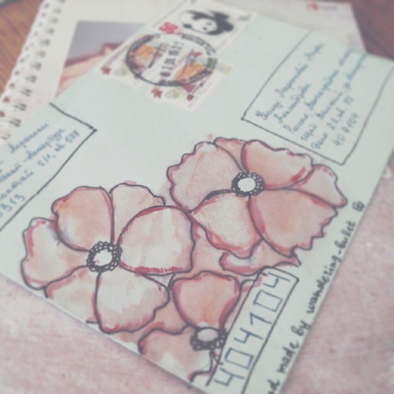 посткроссинг письмо конверт цветы рисунок Post Postcrossing Letter Flowers Drawing 편지 꽂