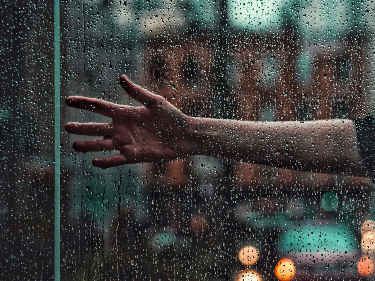 Glass - Material Human Hand Drop Window Rain Wet Human Body Part RainDrop Close-up Water EyeEm Best Shots Abstract Chicago Mood Moody