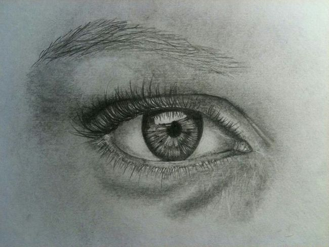 Pencil Drawing Eye Unfinished Drawing