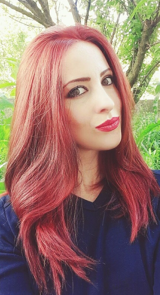 Red Lips Red Hair Redhair Check This Out That's Me Hello World Enjoying Life Selfportrait Selfie ✌ Freshness In My Garden New Haircut Love Home Hi! I Love It ❤ Forever Red Confidence  Self Confidence