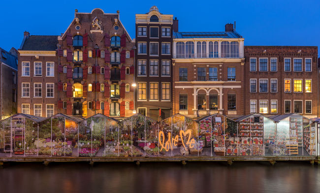 Amsterdam, flower market Amsterdam Architecture Bloemenmarkt Building Exterior Canal Houses Capital Cities  Dutch Evening Flower Market Historical Building Nederland Netherlands No People Residential Building Travel Destinations