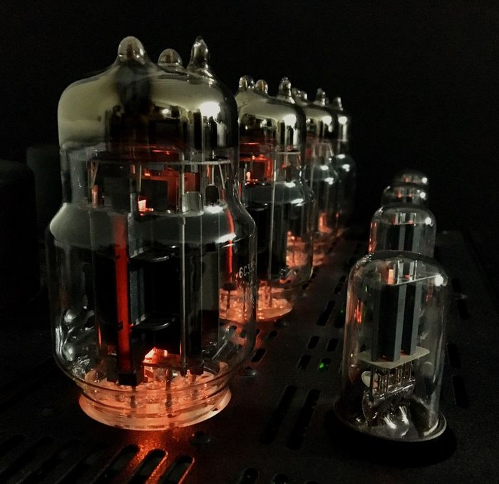 Soviet-made 6C33B vacuum tubes light up on my U.S.-manufactured power amplifier here in the Philippines. Close-up Black Background Vacuum Tube Vacuum Tubes Power Amplifier Tube Amplifier 6C33B VK-55 Balanced Audio Technology Bat Philippines Stereo Audiophile Close Up Technology Technology Lieblingsteil