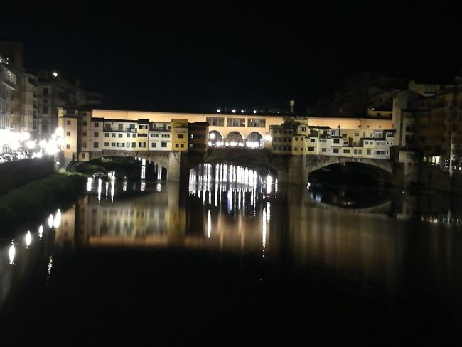 Architecture Building Exterior Built Structure City Florence By Night Florence Italy Ponte Vecchio Sky