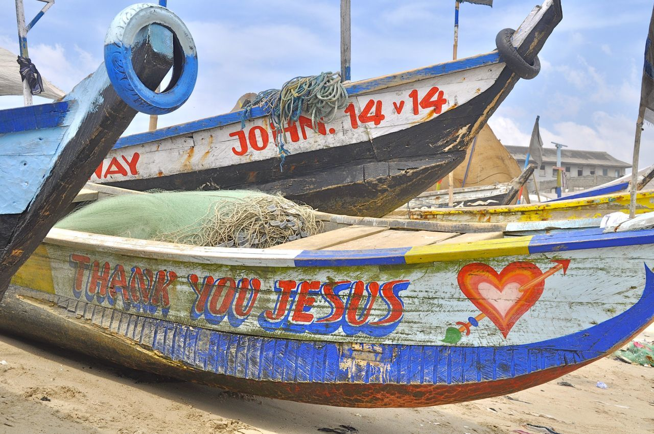 Africa African Pirogue Beach Boat Canoe Colorful Fishing Fishing Boat Ghana Harbour No People Painted Picturesque Pirogue Sea Tranquil Scene