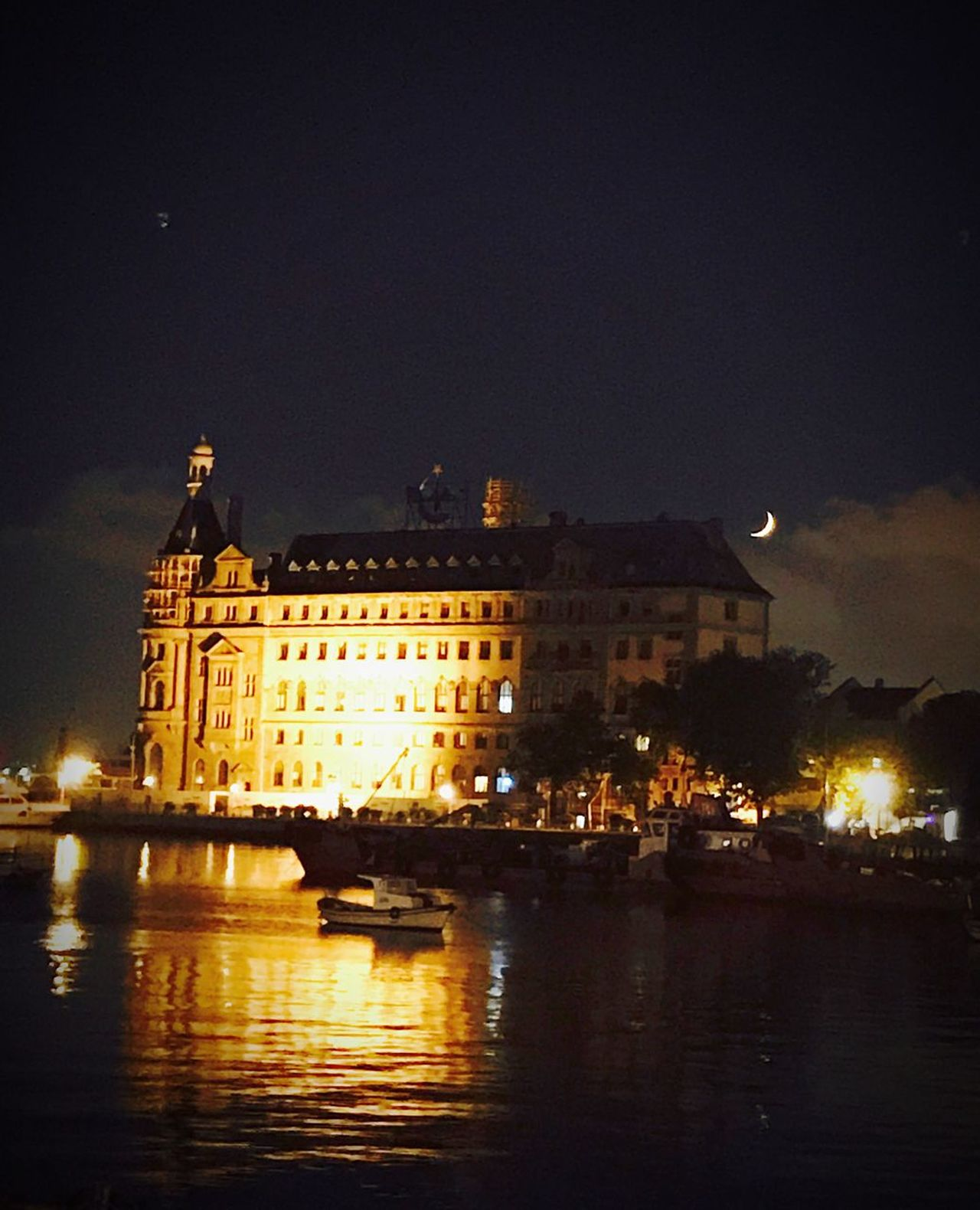 Night Architecture Illuminated Building Exterior Built Structure Water Sky Outdoors Travel Destinations No People City Nature Istanbulkadikoy Turkey Istanbul Istanbul - Bosphorus Haydarpasa Train Station