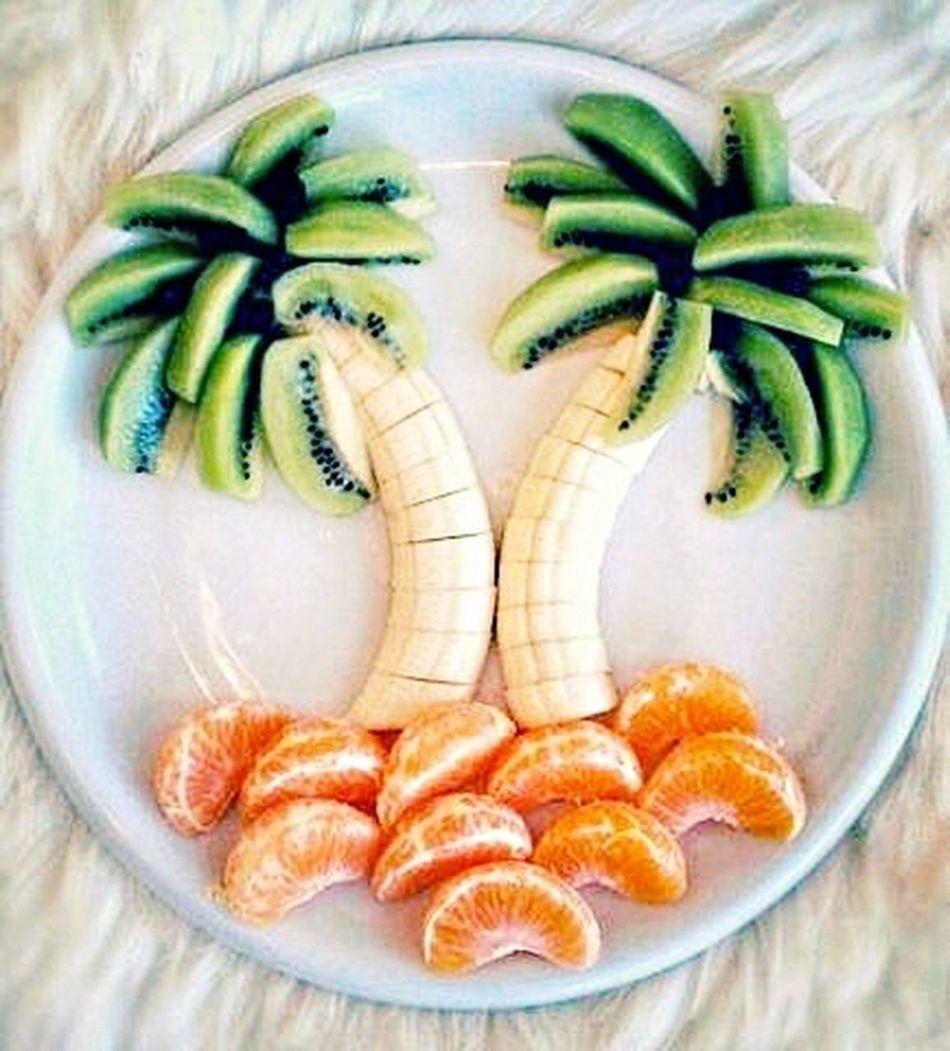 Pornfood Fruitporn Fruit Kiwi Banana Bananas Mandarin Mandarini Plate Composite Everything In Its Place