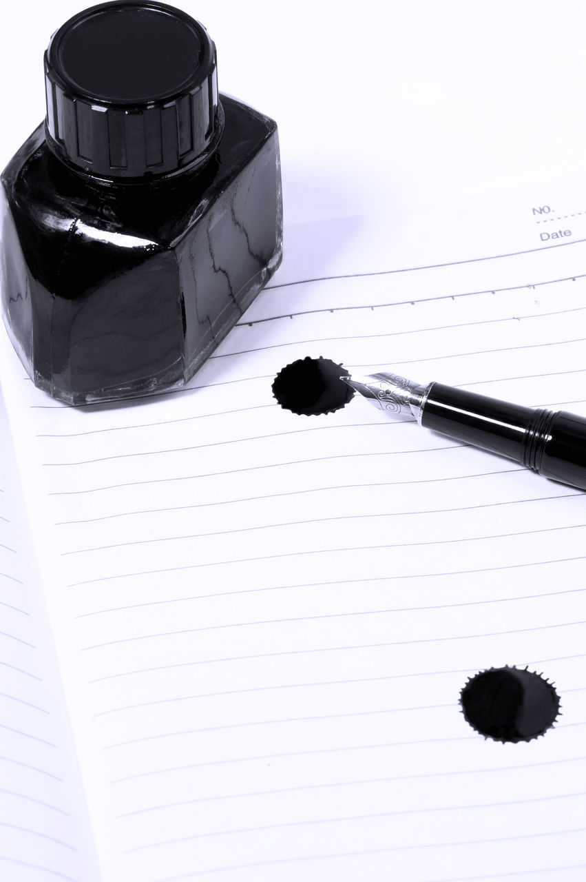 paper, white background, pen, education, indoors, black color, ink well, no people, studio shot, close-up, nib, day