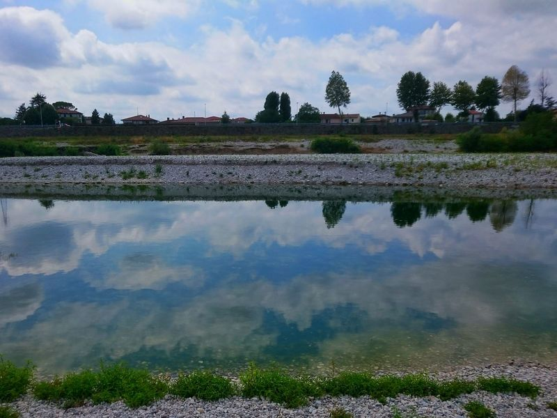Water Reflections River Piave Fiume Piave Italy Clouds Landscape