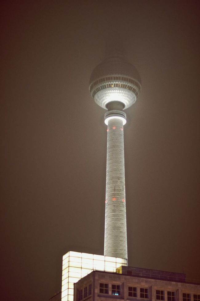 Foggy Night at Alexanderplatz looking up From My Point Of View at the TV Tower . Architecture Fog Night Cityscapes Open Edit Streetphotography Urban Geometry Architecture_collection Mystical Atmosphere Mystic