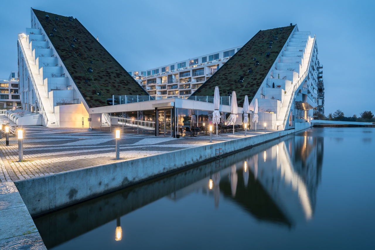 8 House 8 Tallet Architecture Blue Hour Building Building Exterior Copenhagen Danish Danish Design Danmark Denmark Dusk Europe Full Frame Future Futuristic Long Exposure Modern Modern Architecture Reflection Residential Building Residential Structure Scandinavia Slow Shutter Wide Angle ørestad