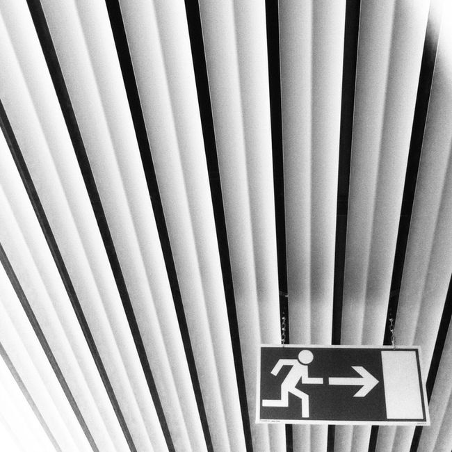 Architectural Feature Ceiling Close-up Exit Exit Sign Full Frame Geometric Shape In A Row Indoors  LINE Man Made Object Metal Repetition