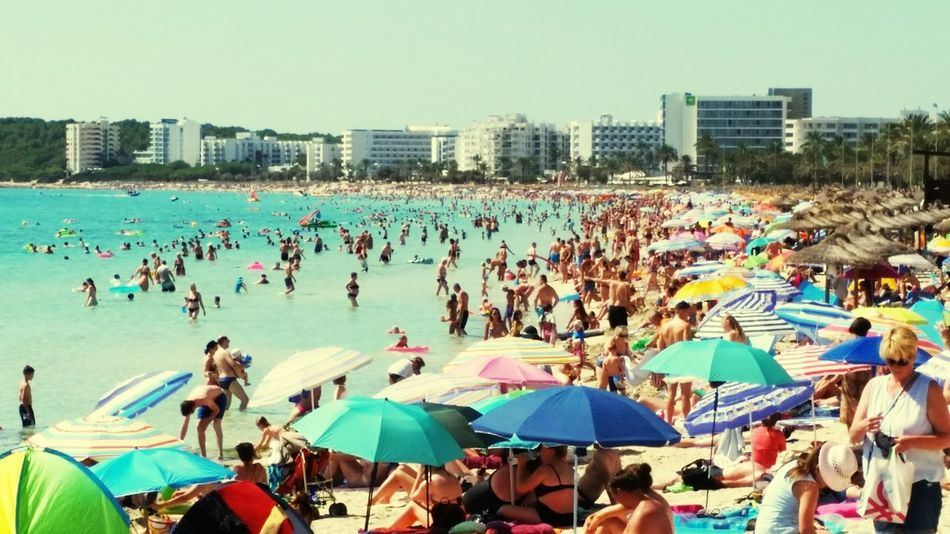 Beach life Large Group Of People Leisure Activity Crowd Outdoors People Sky Water Happiness Vacations Beach Relaxing View Sea Sand Holiday Trip
