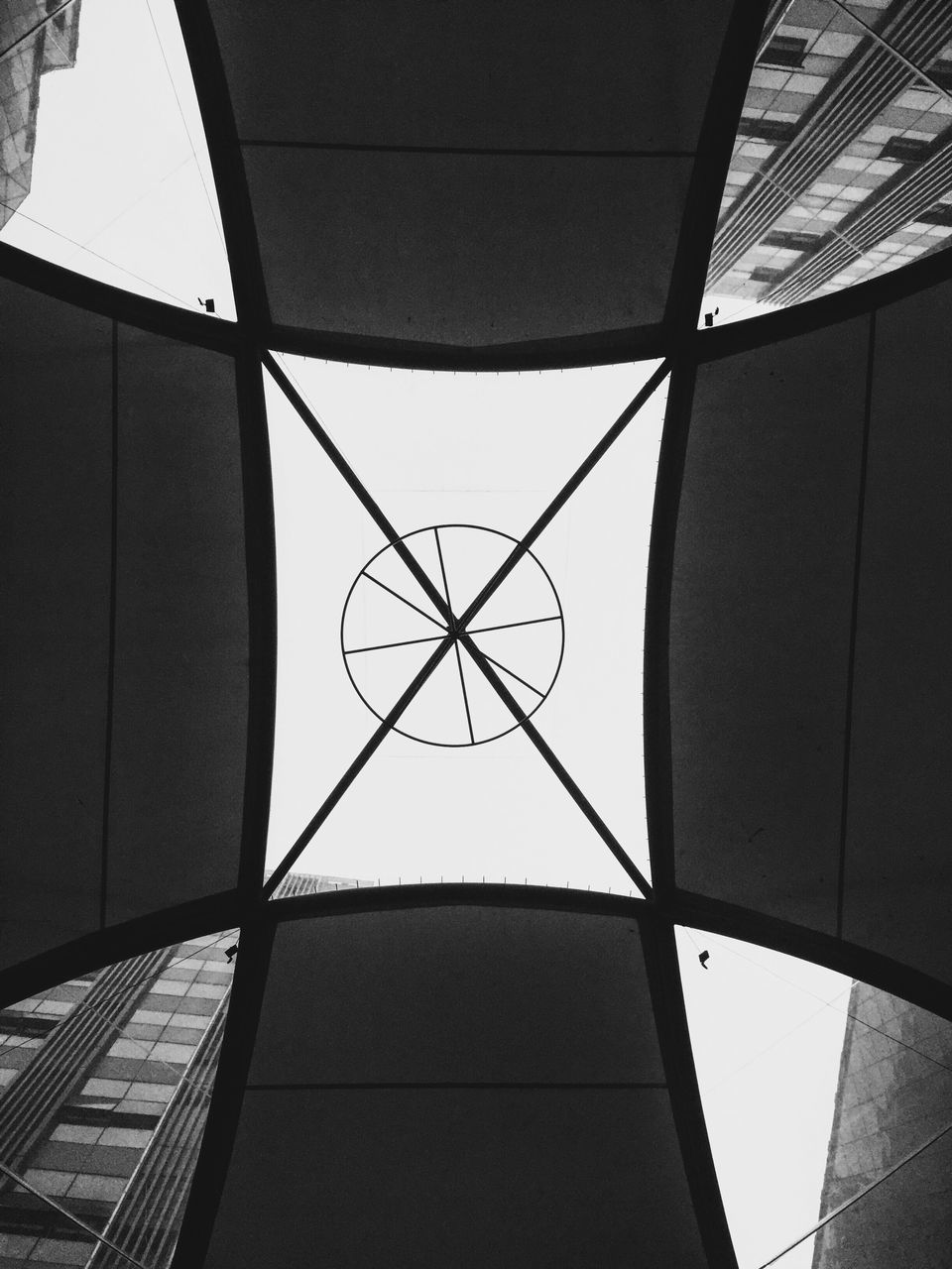 low angle view, architecture, built structure, indoors, ceiling, no people, day, sky, close-up