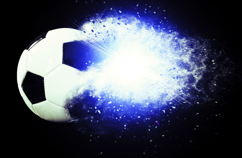 Soccer ball explosion Abstract Art Ball Black Background Bridge Champions League Championship Distortion Dust Energy Europe European  Explosion Explosive Football France Fun Goal Isolated Light Power Powerfield Shot Soccer Soccer Ball