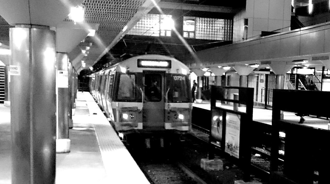 Train Night Subway Commuting Revere Public Transportation Taking Photos Quiet Boston Blue Line black and white station