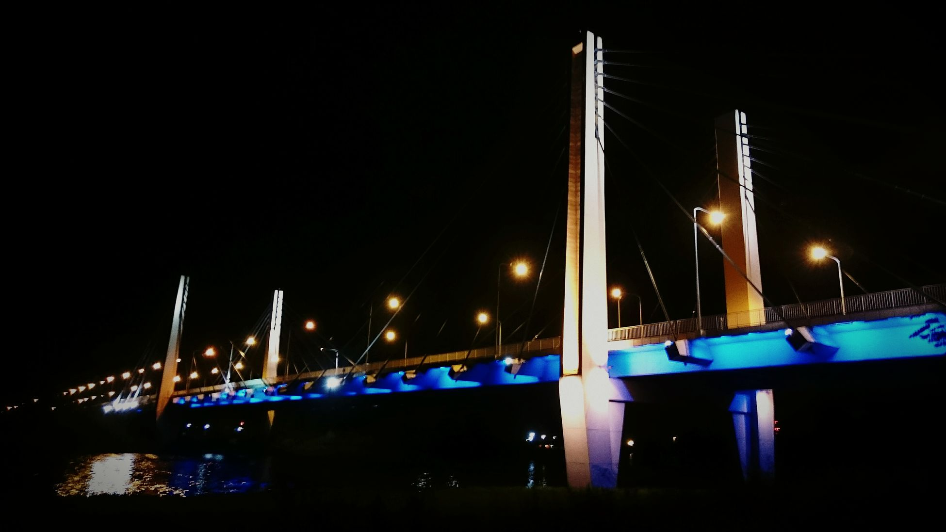 Most Milenijny we Wroclawiu Illuminated Night Bridge - Man Made Structure Transportation Connection Water Dark Bridge Suspension Bridge Blue Sky Engineering City Architecture