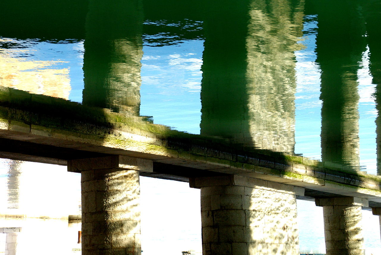 Architectural Column Architecture Built Structure Canal Canal And Fish Canal Fish Canal Walks Canals Canals And Waterways Canalstreet Close-up Column Connection Green Color Green Water Prespective Reflection Reflection_collection Reflections Sunlight Water Water Reflections Water Surface Water_collection Waterfront