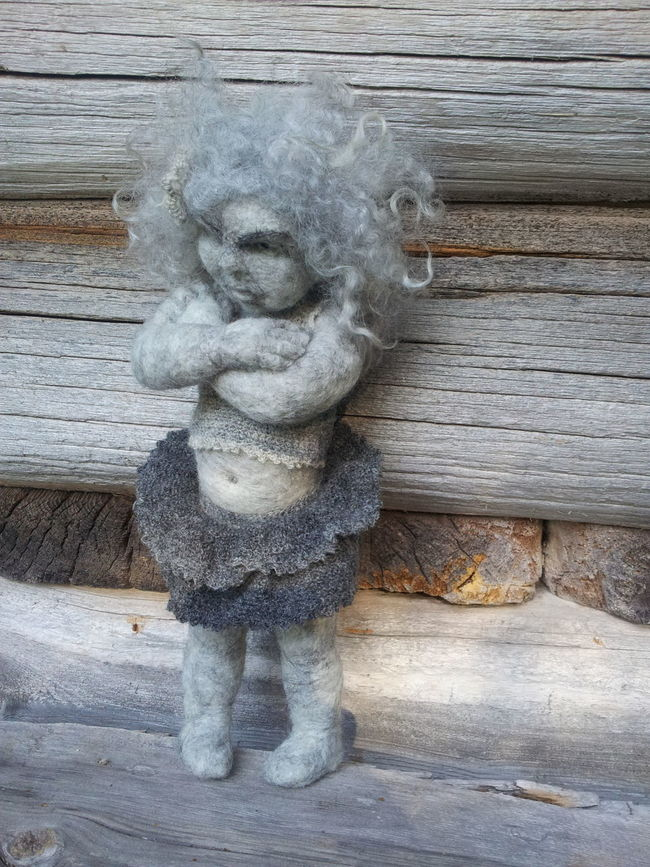 Stina is grumpy! Handmade By Me Needle Felted Artdolls Hello World